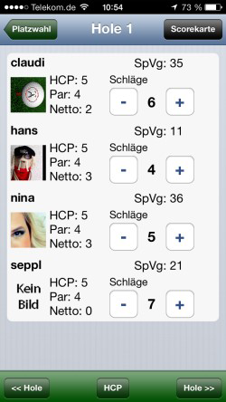 Golf Index auf iPhone
