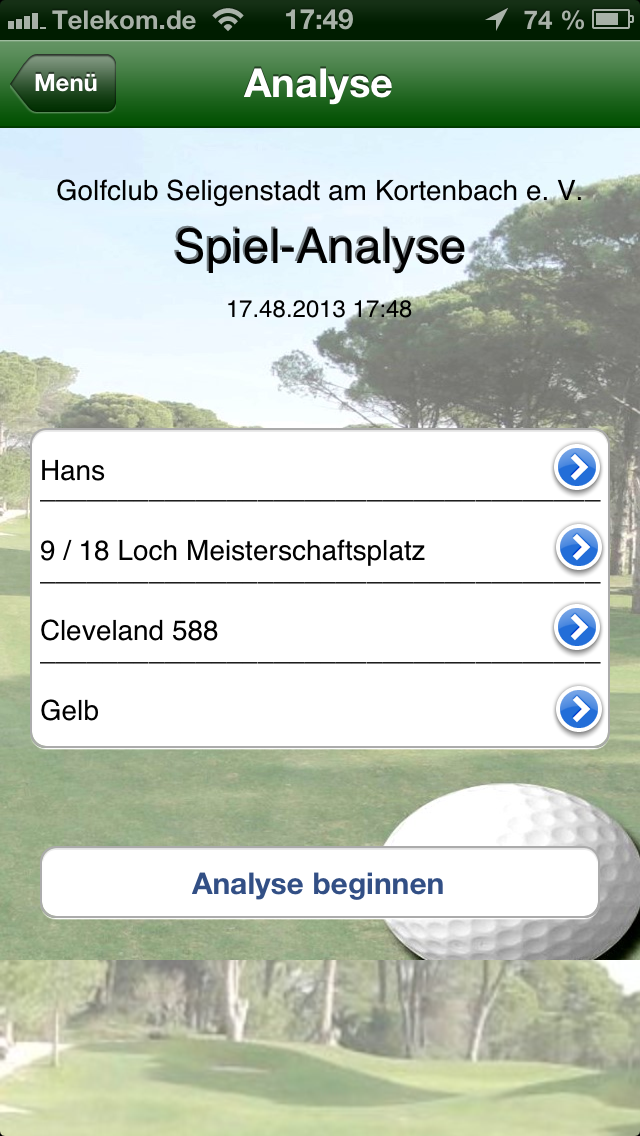 Golf Index auf iPhone